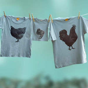 Cockerel, Hen And Chick Matching Family T Shirt Set
