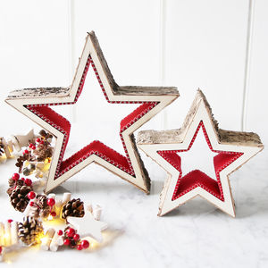 Birch And Red Felt Star - snow globes & ornaments
