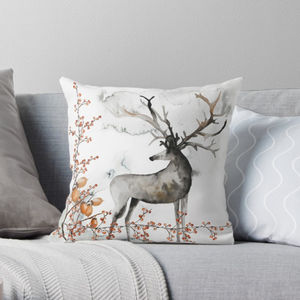 Christmas Watercolour Deer And Berrie Cushion - christmas home accessories