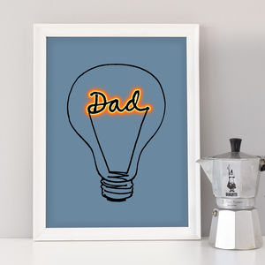 Fathers Day Lightbulb 'Dad' Art Print - posters & prints