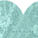 Personalised Map Heart Print For Couples
