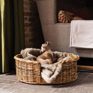 Natural Rattan Basket And Reversible Mattress - dog beds & houses