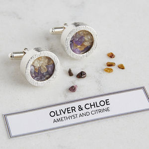 Personalised Mixed Birthstone Cufflinks - 40th anniversary: ruby