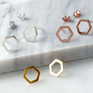 Hexagon Sterling Silver Geometric Stud Earrings