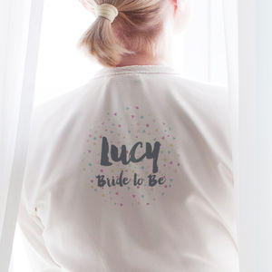 Personalised Confetti Bride Robe / Dressing Gown - more