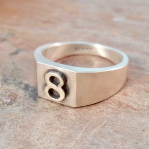 Personalised Number Square Silver Signet Ring