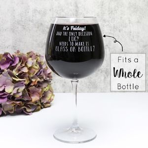 Personalised 'Glass Or Bottle' Whole Bottle Wine Glass - wine glasses & goblets