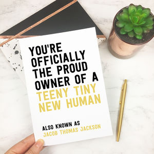 Personalised Funny 'New Human' Baby Card