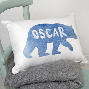 Personalised Watercolour Bear Cushion - personalised cushions
