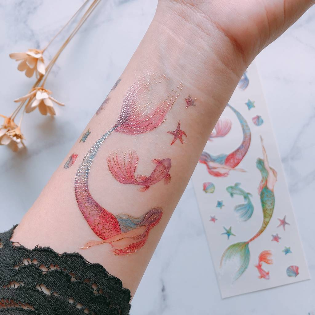 58feef7ad mermaid temporary tattoo by paperself | notonthehighstreet.com