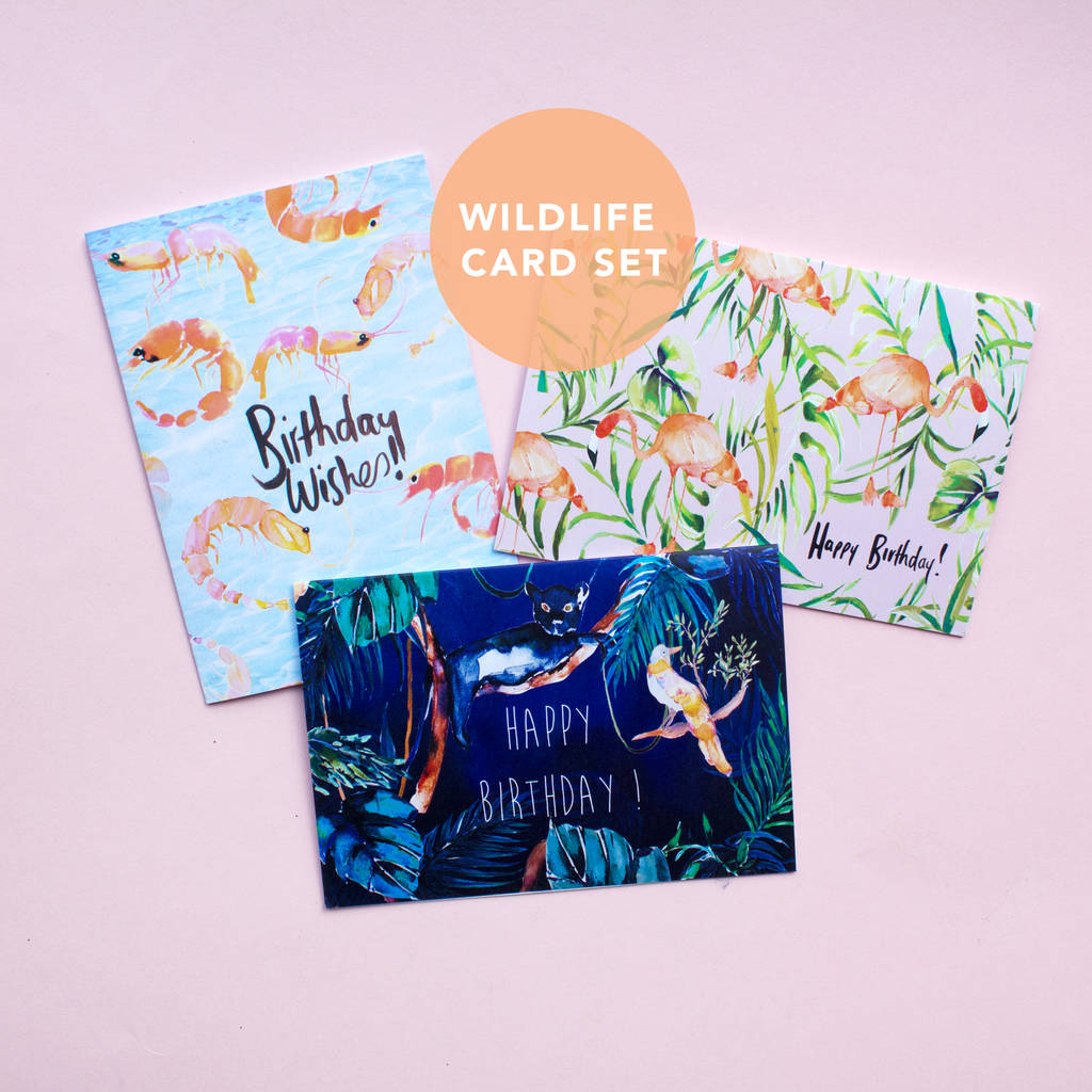 Wildlife Animal Happy Birthday Card Set