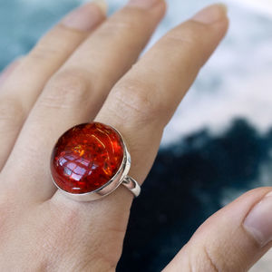 Bright Amber Sterling Silver Statement Ring - rings