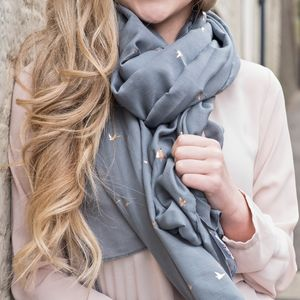 Foil Flying Birds Scarf - accessories sale