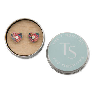Tiger Lily Vintage Floral Heart Studs In A Tin