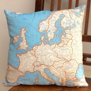 Cushion With World Map Print