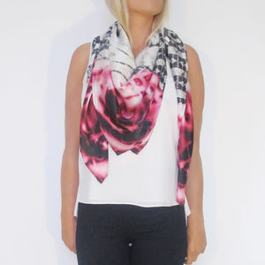 Snake Print Scarf With Roses - gifts for friends