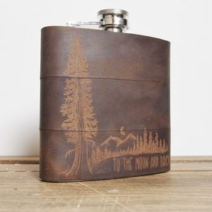 Personalised Mountain Man Leather Hip Flask - men's accessories