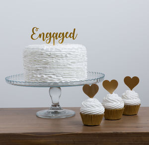 Engaged Mini Party Cake Topper Set