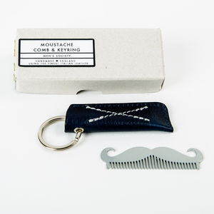 Moustache Comb Keyring In Leather Case