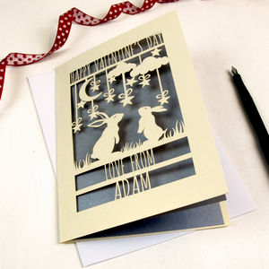 Personalised Papercut Bunny Valentine's Card - valentine's cards