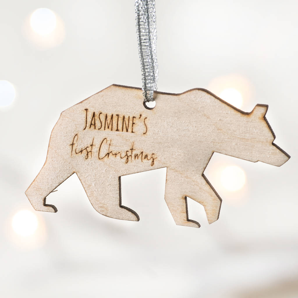 personalised polar bear first christmas decoration