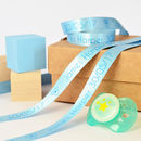 15mm pastel blue with blue print personalised new baby ribbon