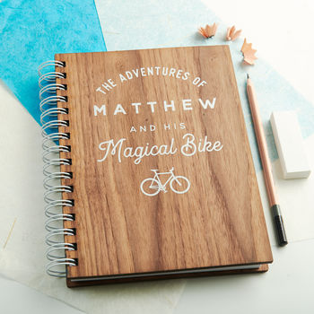Personalised 'Magical Bike' Walnut Notebook