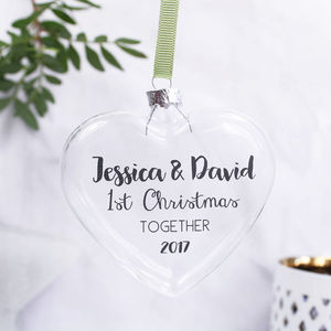 Couples First Christmas Heart Bauble - tree decorations