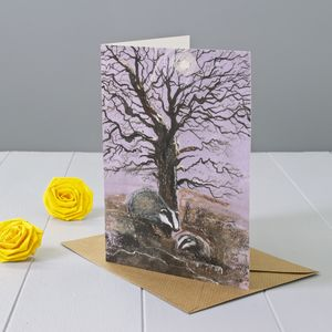 Badger Art Greeting Card - birthday cards