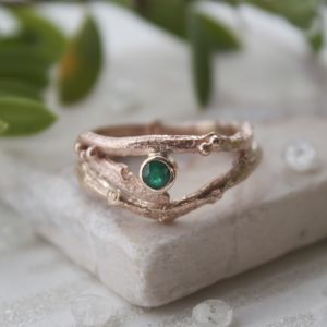 Rose Gold And Emerald Engagement Ring Set - engagement rings