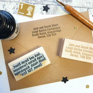 Personalised Custom Address Rubber Stamp Various Fonts - ribbon & wrap