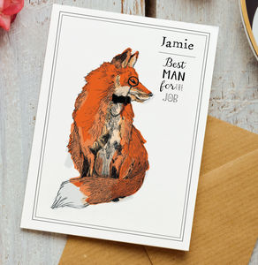 Personalised Monicled Fox Best Man Card - be my bestman