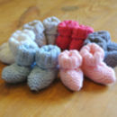 Baby booties beginner knitting kit - 6 shades of 100% merino wool available