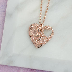 Rose Gold Vermeil Floral Heart Pendant With Cut Out