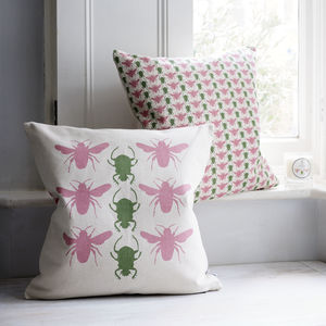 Bee And Beetle Cushion