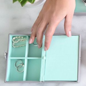 Dove Grey With Mint Travel Box - jewellery boxes