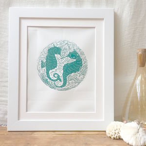 Personalised 'Sea Horses' Handprinted Linocut Art Print