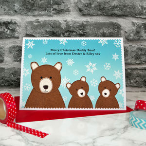 'Bears' Personalised Christmas Card From Children