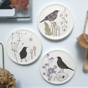 Botanical Bird Mini Wall Plates - animals & wildlife