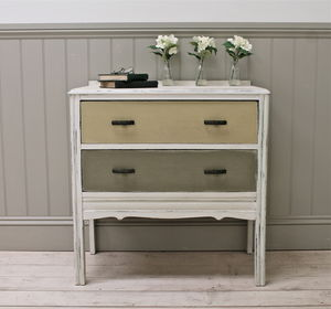 Distressed Vintage Painted Two Drawer Chest - bedroom