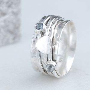 Cherish Heart Sterling Silver Spinning Ring - rings