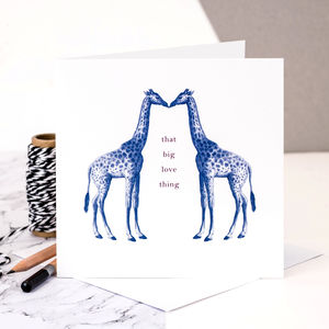 Giraffe Love Card; 'That Big Love Thing' - personalised cards