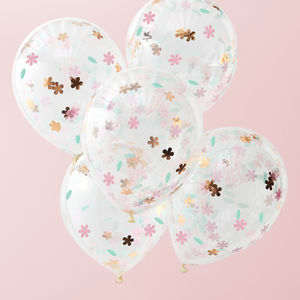 Floral Confetti Filled Party Balloons