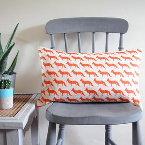 Small Rectangle Fox Cushion - bedroom