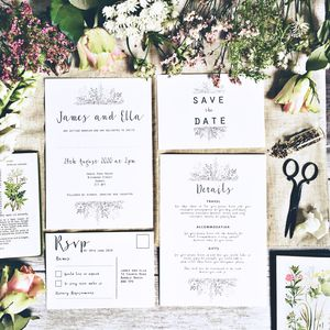 Wildflower Modern Wedding Invitation Set