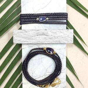 Navy Wrap Bracelet With Sodalite Gemstone - bracelets & bangles