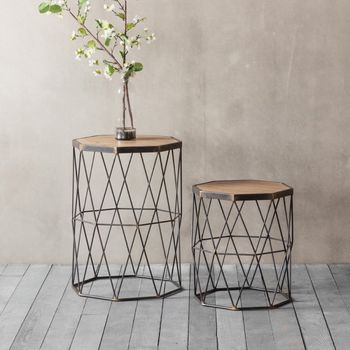 Set Of Two Wooden And Metal Side Table