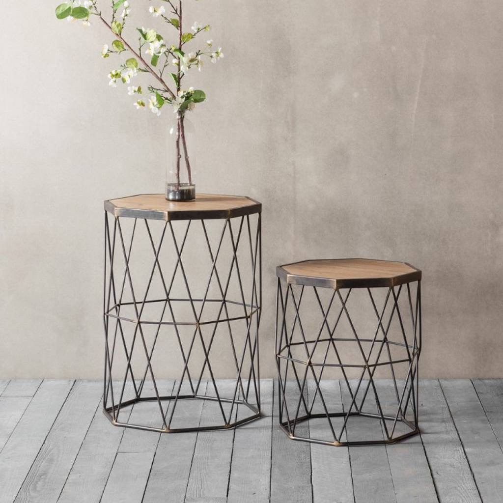 Set Of Two Wooden And Metal Side Table By The Forest Amp Co