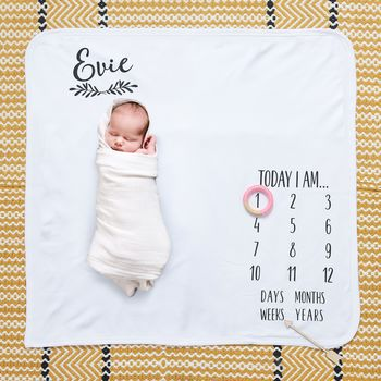Personalised Laurel Baby Milestone Blanket