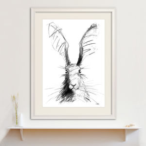Hare Portrait Original Charcoal Drawing - drawings & illustrations